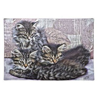 Kittens relaxing on a chair placemat