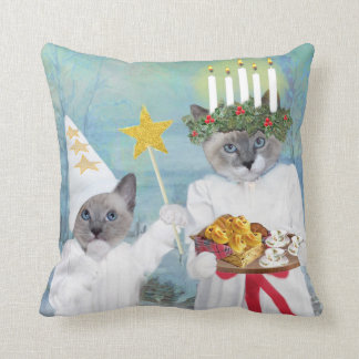 Kittens' Santa Lucia Throw Pillow