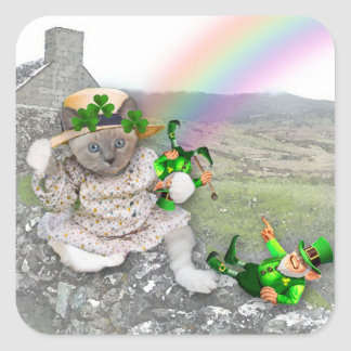 Kitten's St. Patrick's Square Stickers