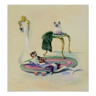KITTENS & TOILET PAPER by SHARON SHARPE Poster
