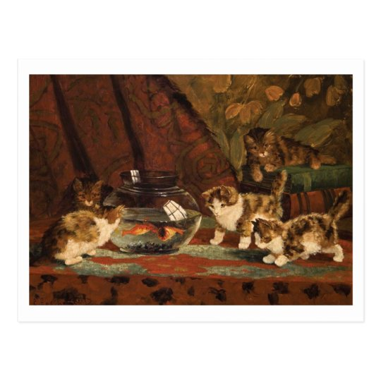 Kittens with Goldfish by Eugene Lambert Postcard