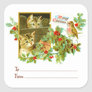 Kitties & Robin | To From Vintage Christmas Gift Square Sticker