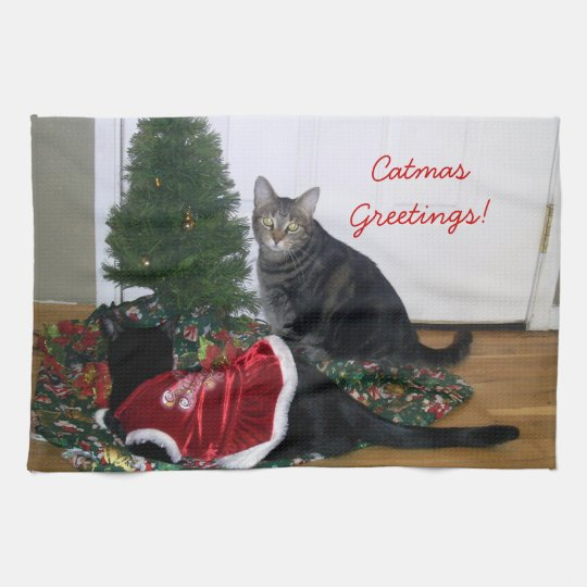 Kitties with Christmas Tree Kitchen Towel