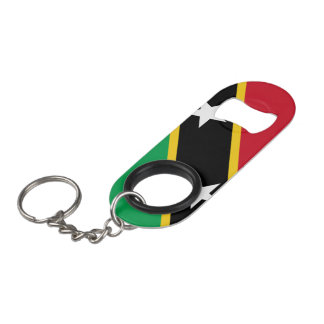 Kitts and Nevis Flag Keychain Bottle Opener