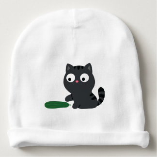 Kitty and Cucumber Illustration Baby Beanie