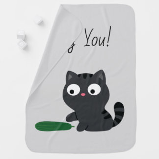 Kitty and Cucumber Illustration Baby Blanket