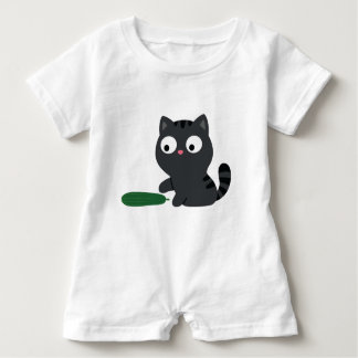 Kitty and Cucumber Illustration Baby Romper