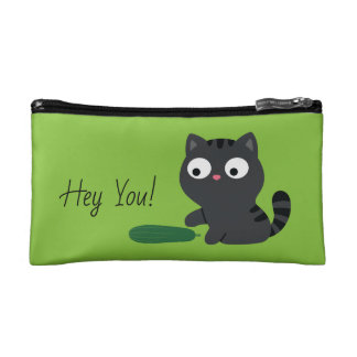 Kitty and Cucumber Illustration Cosmetic Bag