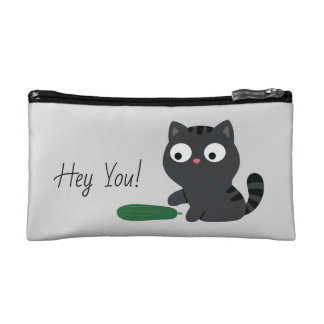 Kitty and Cucumber Illustration Makeup Bag
