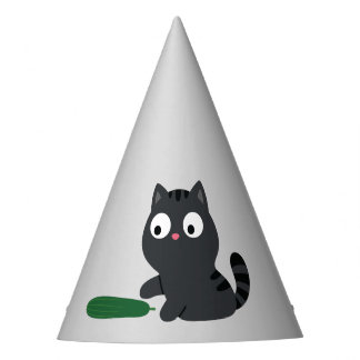 Kitty and Cucumber Illustration Party Hat