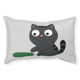 Kitty and Cucumber Illustration Pet Bed