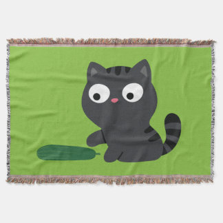 Kitty and Cucumber Illustration Throw Blanket
