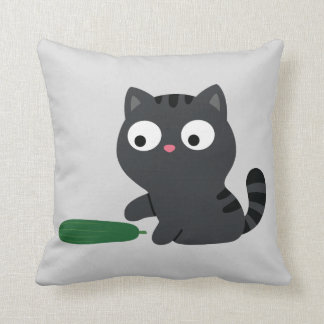 Kitty and Cucumber Throw Pillow