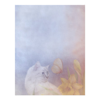 Kitty and daffodils letterhead template