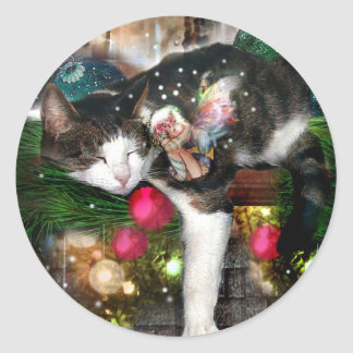Kitty and Faery HolidaySticker Classic Round Sticker