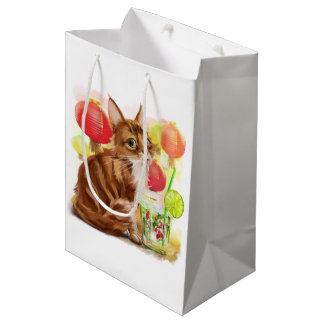 Kitty and Japanese koi fish Medium Gift Bag