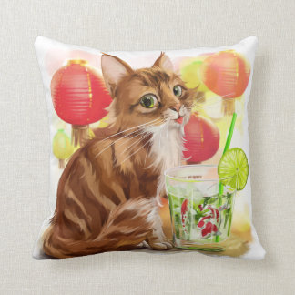 Kitty and Japanese koi fish Throw Pillow