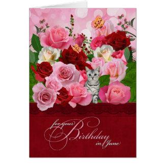 Kitty and Rose Garden June Birthday Card