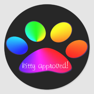 kitty approved classic round sticker