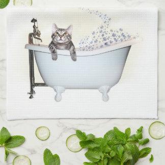 Kitty bath time kitchen towel