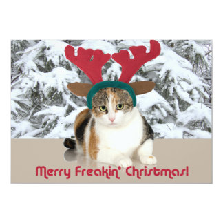 Kitty Cat & Antlers Merry Freakin Christmas Personalized Invitation