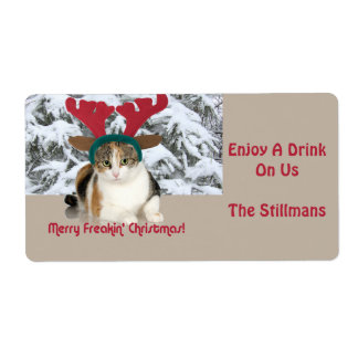 Kitty Cat & Antlers Merry Freakin Christmas Labels