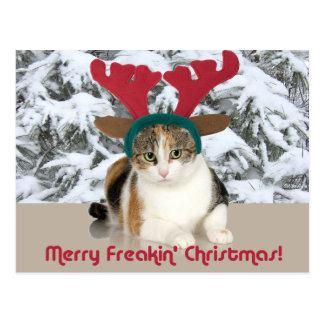 Kitty Cat & Antlers Merry Freakin Christmas Post Card