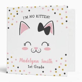 Kitty Cat Binder, Personalized Vinyl Binder