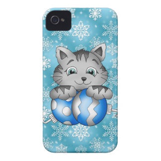 Kitty Cat Blue Snowflakes Christmas Holiday iPhone 4 Case-Mate Cases