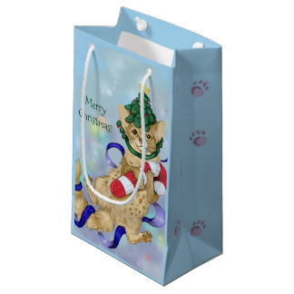 Kitty Cat Christmas Small Gift Bag