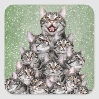 Kitty cat Christmas tree Square Sticker