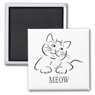 Kitty Cat Clipart | Customize Text | Custom Color Magnet