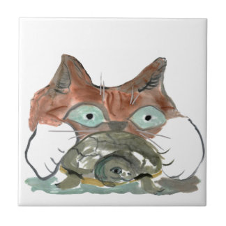 Kitty Cat Clutches his Turtle Pal Tile