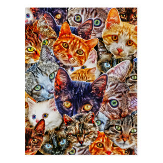Kitty Cat Collage Postcard