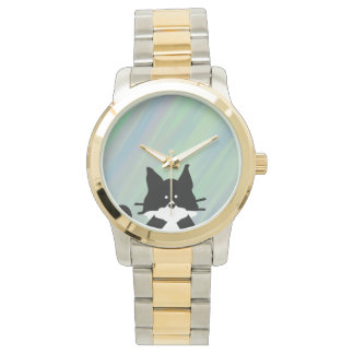 Kitty Cat Covering Mouth with Background Wristwatch