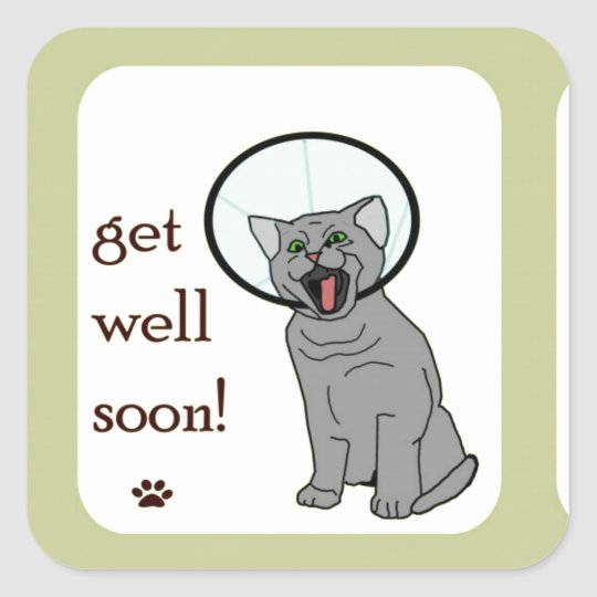 Kitty Cat Get Well Soon Square Sticker