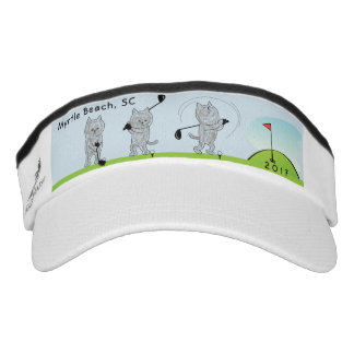 Kitty Cat Golfer Swing Golf Course Sun Visor