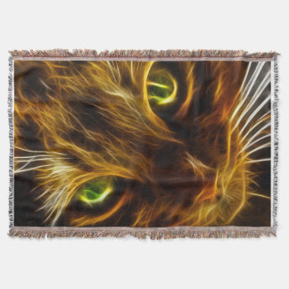 Kitty cat green eyes Throw blanket