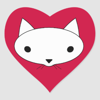 Kitty cat heart stickers - red background