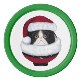 Kitty Cat Holiday Santa Poker Chips
