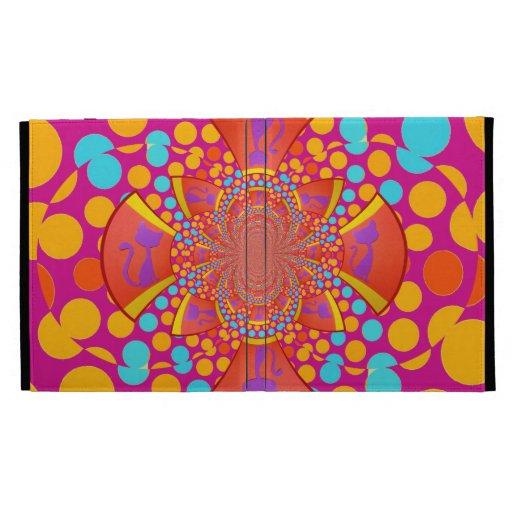 Kitty Cat Kaleidoscope Pink Teal Polka Dots iPad Cases