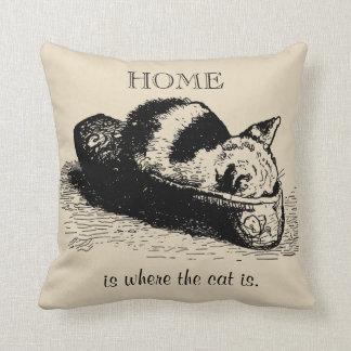 Kitty Cat Kitten Slipper Black Illustration Pillow