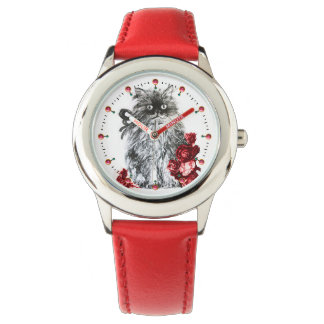 KITTY CAT / KITTEN WITH RED ROSES Black White Watch
