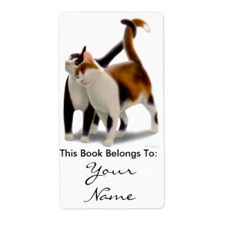 Kitty Cat Love Bookplate Shipping Label