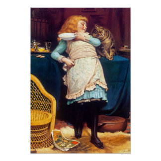 Kitty Cat Love - Vintage Painting - by Barber Poster