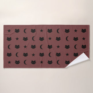 Kitty Cat Moon And Stars Bath Towel