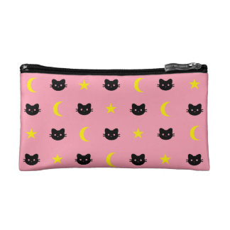 Kitty Cat Moon And Stars Cosmetic Bag