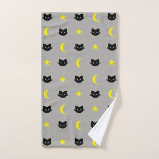 Kitty Cat Moon And Stars Hand Towel