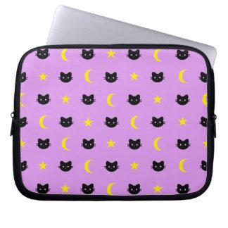 Kitty Cat Moon And Stars Laptop Sleeve
