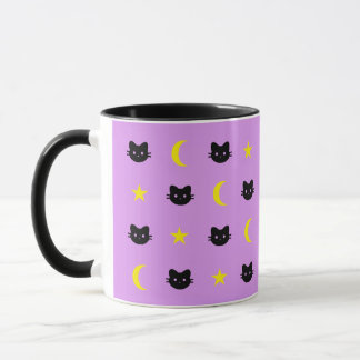Kitty Cat Moon And Stars Mug